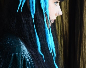 Sky Blue MINI ELFLOCKS Clip-in Dreads Dreadlocks for Cosplay, LARP, Tribal Dance, Festivals, Alt Fashion, Goth, Performance, Burning Man