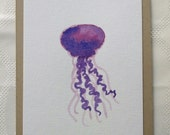 Hand Painted Watercolor Jellyfish Greeting Card, one of a kind, Purple