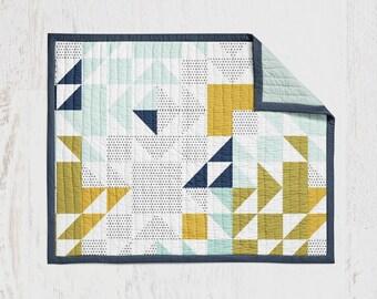 Aqua Adventurer Quilt - Navy Mustard Mint Patchwork Crib Quilt Wholecloth Quit Baby Blanket Crib Blanket Navy Mint Mustard Blanket