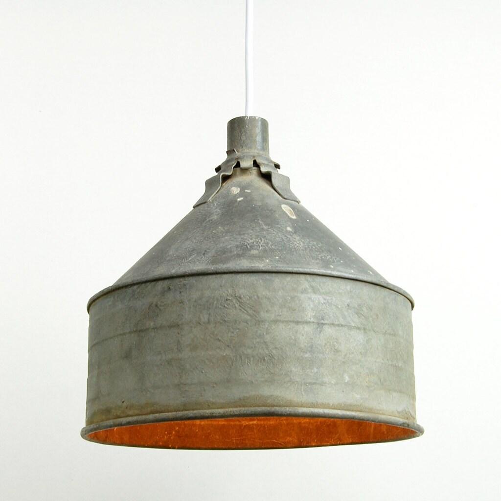 Hanging Light Galvanized: Vintage Funnel Pendant Light Antique Galvanized Steel Shade
