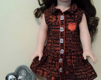 Handmade Halloween Yacht Club Doll Dress for 18 inch Dolls by Kizzie Creations