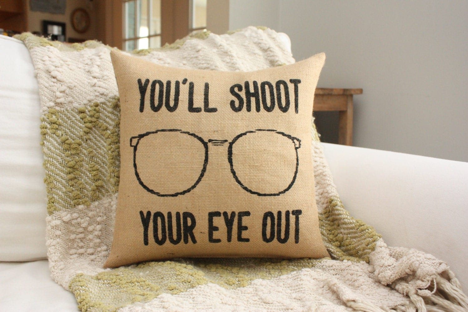 Burlap Pillow Christmas Story You'll Shoot Your Eye Out