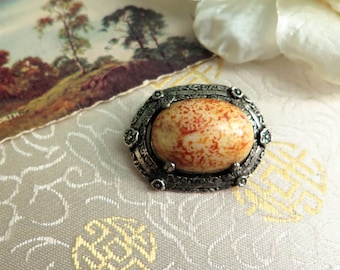 Vintage Celtic Brooch - Vintage Pewter Brooch - Vintage Oval Brooch - Vintage Agate Brooch - Vintage Brooch - Vintage Pin - Orange - Yellow