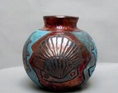 Vase Raku Pottery Ceramic Starfish Pot Raku Ceramic Jars Seashell Art Gifts Seashore Home Decor Copper Vase Pottery Gifts 8x8x8 inches
