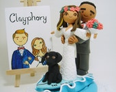 lovely couple on the surf board with the dog customized wedding cake topper