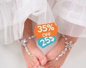 Flower girl barefoot sandals Baby Starfish barefoot sandal Girl Beach sandal Baby Shower Gift Baptism shoes Beach wedding Foot thongs