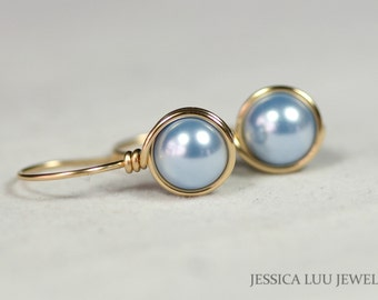 Gold Light Blue Pearl Earrings Wire Wrapped Jewelry Handmade Light Blue Earrings Gold Earrings Gold Jewelry Pearl Drop Earrings Bridal