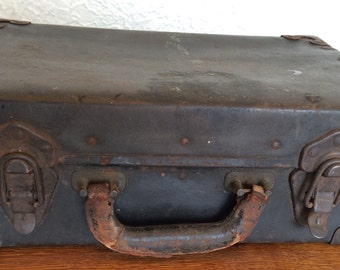 Antique Leather and Metal Suitcase