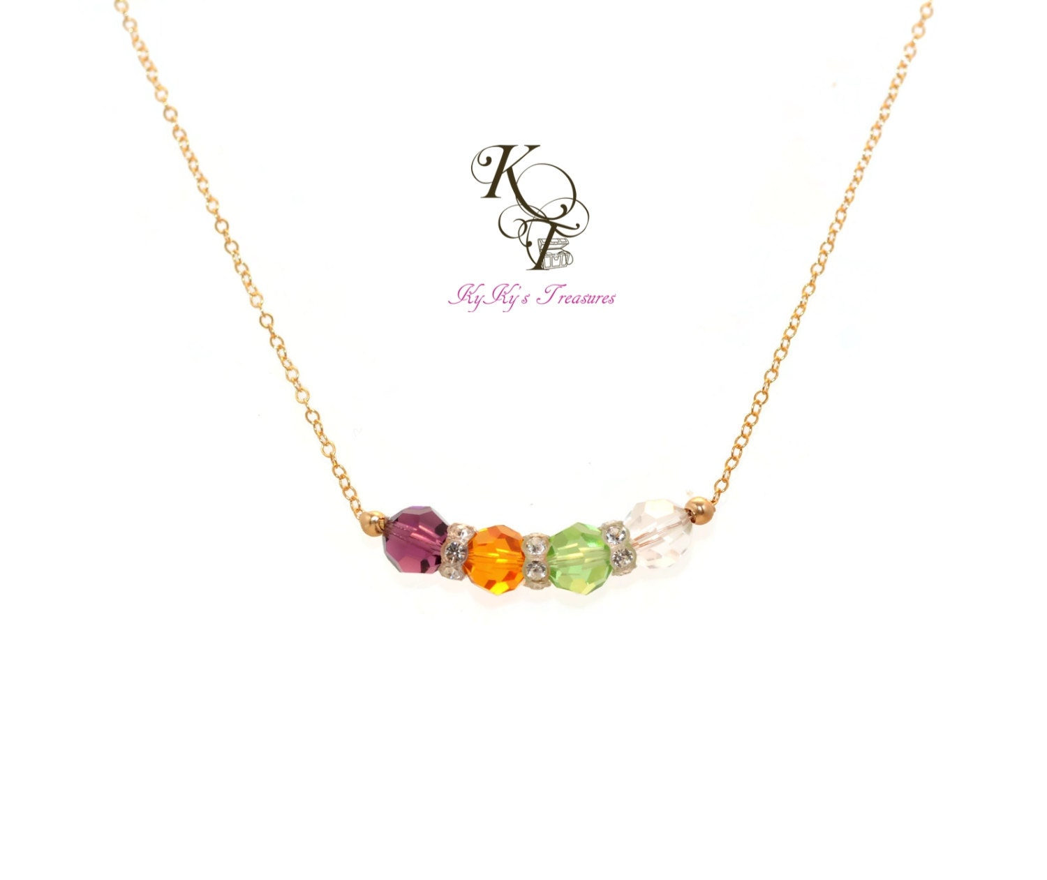 birthstone necklace mothers necklace 14k gold by