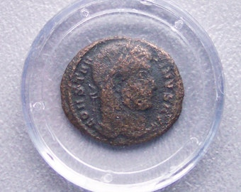 Ancient Roman Empire Constantine Bronze Coin with COA