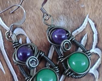 bohemian wire wrap earring