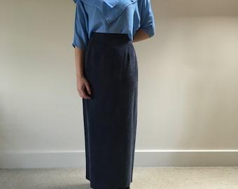 SALE 1980s vintage monsoon maxi skirt   navy pencil skirt   fine cupro grosgrain   wiggle skirt