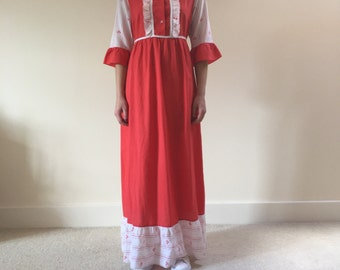 1970s frill dress | prairie esque maxi dress | red and white dress