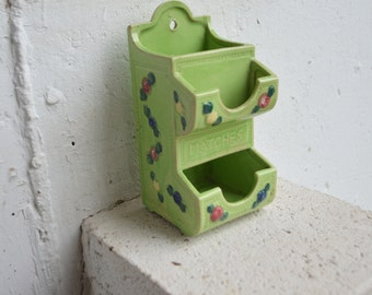 Lime Green Match Box Holder, Made in Japan