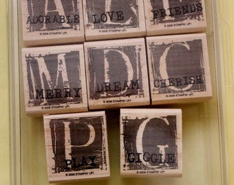 A is For Adorable/ Stampin Up/ Set of Eight/ Rubber Stamps /Stampin Up 2006