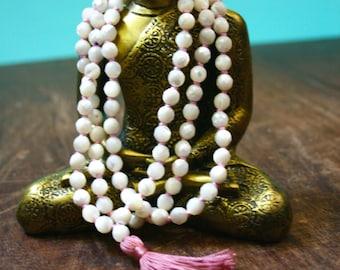 Mother Of Pearl 108 Mala Beads Knotted Gemstone Mala Prayer Beads Japa Mala Meditation Beaded Tassel Necklace Yoga Jewelry Spiritual Jewelry