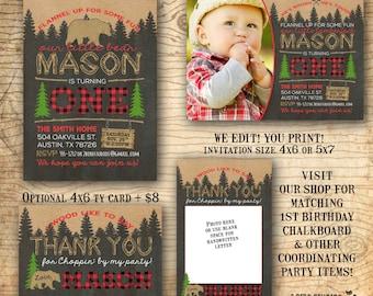 Lumberjack first birthday invitation - Lumberjack invitation - Lumberjack birthday invitation with bear & woodland - Chalkboard you print