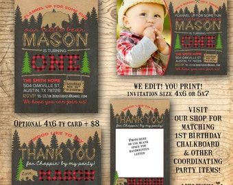 Lumberjack invitation - Lumberjack first birthday invitation - Lumberjack birthday invitation - Chalkboard - you print
