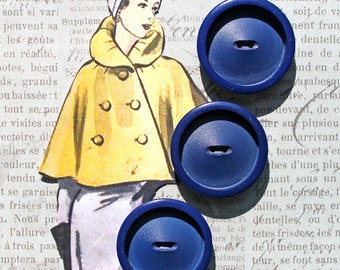 3 Extra Large Blue Buttons*Blue Large Coat Buttons* Set of 3 Blue Buttons