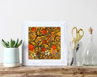 autumn monarch butterflies print butterfly kitchen decor