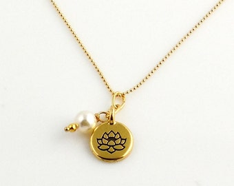 Petite Lotus Blossom Yoga Necklace, Yoga Jewelry, Buddhist Jewelry, Lotus Necklace, Gifts