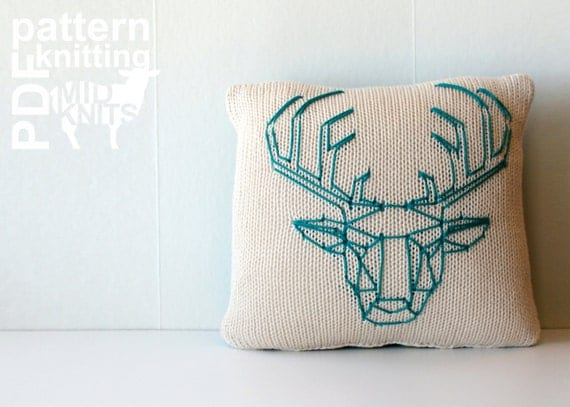 DIY Knitting PATTERN - Origami Stag Head Stockinette Throw Pillow - 12