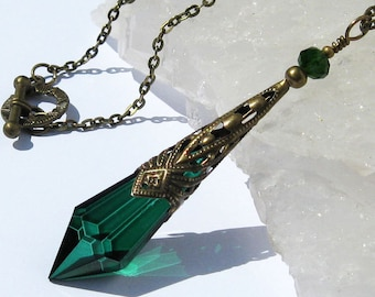 Icicle Prism Pendant, Caribbean Green, Antiqued Brass, Decorative Cone, Crystal Necklace, Mystical, Pendulum Necklace, Victorian Inspired