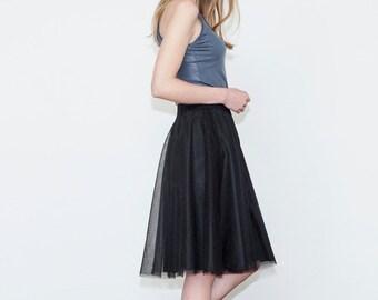 Tutu skirt,Tulle skirt, Black skirt, Bridesmaid skirt, Evening skirt, Midi skirt, Women's skirt