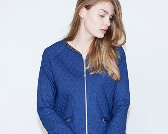 SALE, Jeans jacket, Blue jacket, Quilt jacket, Zipper short jacket, Boho chic jeans jacket, Autumn jacket