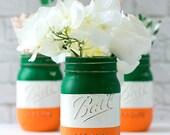 Irish Flag - Irish Flag Mason Jar - St Patrick Day Decor - St Patrick Day Party Decor - Painted Mason Jar