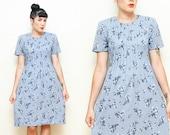 SALE! Vintage 80s FLORAL dress // small blue PLEATED front square shoulder day dress // size 6 prairie revival tie back dress