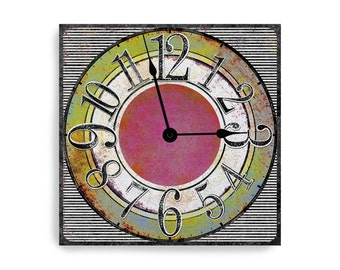 Funky striped wall clock with pink and lime green middle. Square design.