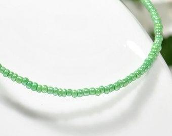 Green Ankle Bracelet Green Anklet Dainty Anklet Layered Anklet Seed Bead Anklet - G8