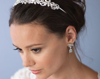 Bridal Pearl Wedding Headband, Freshwater Pearl Bridal Headpiece, Bridal Hair Accessory, Pearl Bridal Headband, Bride Headband ~TI-3161