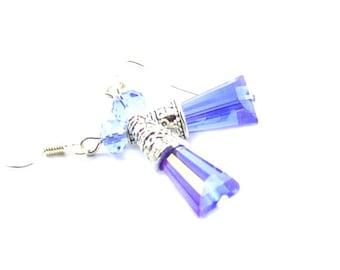 Blue drop crystal earrings casual beaded silver casual boho earrings