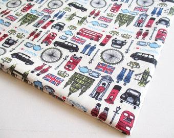 British Cotton Off White London Fabric, UK Landmark United Kingdom,Union Jack, City Tour, Big Ben, London eyes, curtain, table cover CT445