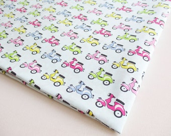Vespa Fabric, Car, Motorcycle, Green Red Blue Scooter, Vehicle, Boy Shirt, Baby shower, boy, kid, toy, pillow cover,Kid, curtain, CT509