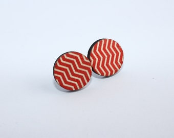 Red and White Striped Wood Stud Earrings 15mm