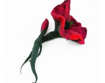 Felted Brooch nunofelt Red Brooch nuno felt flower silk flower folk boho red ruby wool victorian fairy