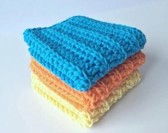 Cotton Crochet Wash Cloth - Crochet Wash Cloths - baby wash cloths - Kitchen - Bathroom - Set of 3 Blue orange and yellow - spa cloth - bath