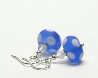 True Blue and White Polka Dot Earrings - Etched Artsan Lampwork Glass Earrings - Sterling Silver Earwires - Handmade Jewelry
