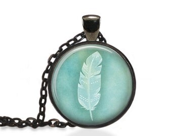 Feather Necklace, Bohemian Feather Jewelry, Minimalistic Feather Pendant  [A92]