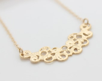 Dainty Gold Necklace • Lacy gold pendant • Gifts for her