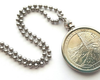 Grand Canyon Coin Necklace with Stainless Steel Ball Chain or Key-chain - 2010 - National Park Quarters