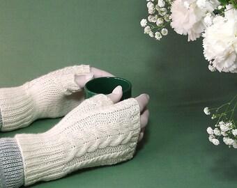 British wool fingerless gloves cream aran cable hand knitted wristwarmers handmade in UK
