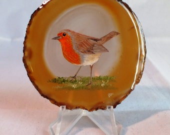 Robin Painting on Agate
