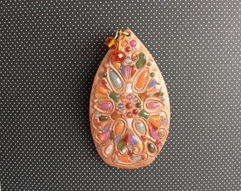 Art brooch, handmade polymer brooch, flower basket brooch, faux stones brooch, Dutch Design