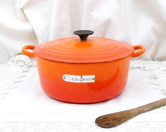 Large Vintage French Bright Orange Enameled Cast Iron Le Creuset 4.5 Cooking Pan / Pot and Lid, Kitchen, French Oven, Cooking, Kitchenware