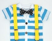Cardigan and Bow Tie Set with Suspenders - Light Blue Cardigan / Grey Dot Tie / Yellow Suspenders