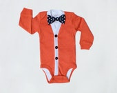 Baby Cardigan and Bow Tie Set - Trendy Baby Boy - Solid Fall Orange - Cardigan Onesie